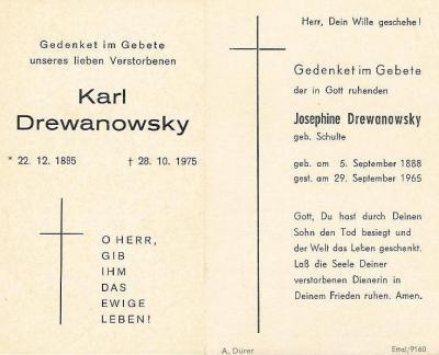 Totenzettel Karl Drewanowsky & Josephine geb. Schulte