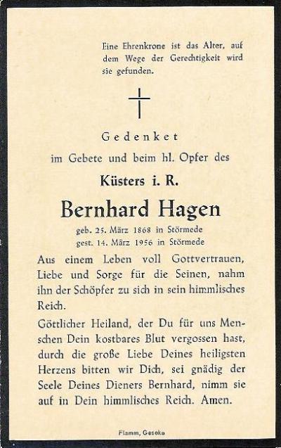 Totenzettel Bernhard Hagen