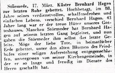 Nachruf Bernhard Hagen