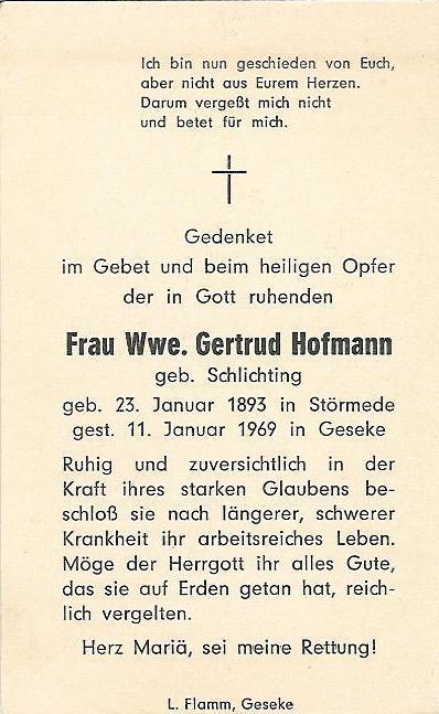 Totenzettel Gertrud Hofmann geb. Schlichting