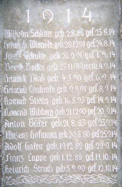Jahrgang 1914 des Ehrendenkmals der Gefallenen des 1. Weltkrieges der Stadt Geseke