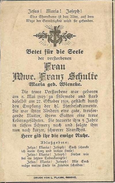 Totenzettel Maria Schulte geb. Wieneke