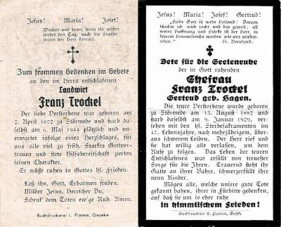 Totenzettel Franz Trockel & Gertrud geb. Hagen