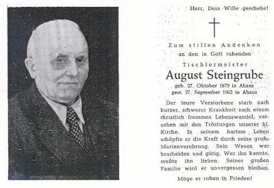 Totenzettel August Steingrube
