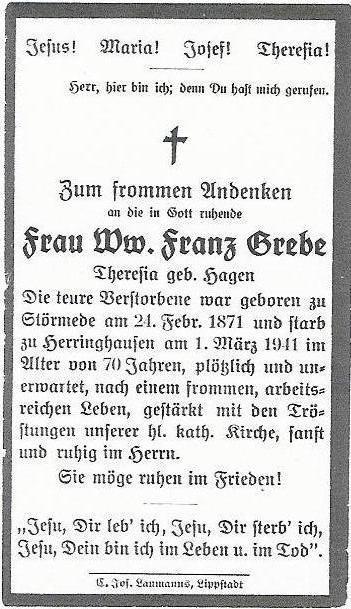 Totenzettel Theresia Grebe geb. Hagen