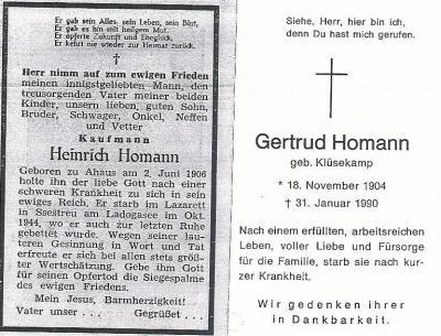 Totenzettel Heinrich Homann & Gertrud geb. Klüsekamp