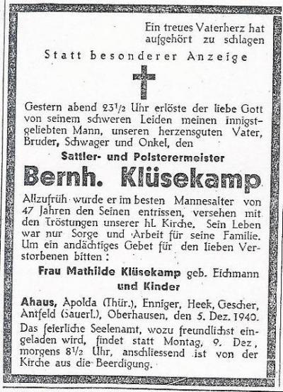 Todesanzeige Bernhard Klüsekamp