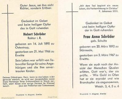 Totenzettel Hubert Schröder & Anna geb. Schulte