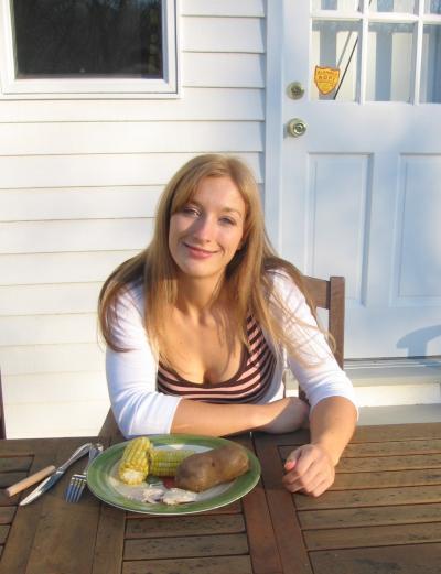 ich beim ersten Dinner outside