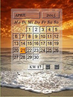 Kalender mit monatl. Hintergrundbild