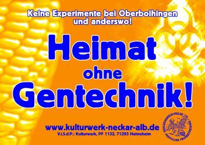 Heimat ohne Gentechnik   Aufkleberkampagne von Kulturwerk Neckar-Alb