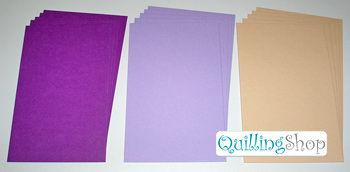 QuillingSHOP.ru: магазин для квилинга - Наборы прямоугольных картонных подложек с фактурным тиснением для поделок и открыток в стиле квиллинг. Картонные подложки для квиллинга, открытки для квилинга (набор 01 малый) количество: 15 шт. в одном наборе, цвета: 3 разных тона (ярко фиолетовый, светло фиолетовый, бежевый) по 5 подложек каждого тона, ширина: 105 мм, длина: 165 мм, плотность: 300 гр.