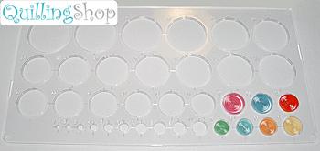 QuillingSHOP.ru: магазин для квилинга - пластиковый шаблон для квилинга с кругами (применяется для удобной предварительной укладки и формовки квиллинговых роллов). Шаблон с окружностями для квиллинга имеет 36 кругов разного диаметра от 1 мм до 36 мм