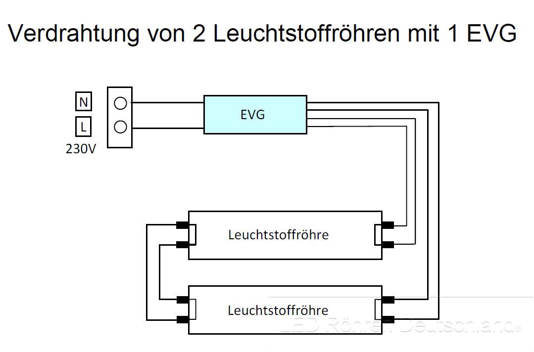SMD-LED-Röhren - 2 Röhren 1 EVG