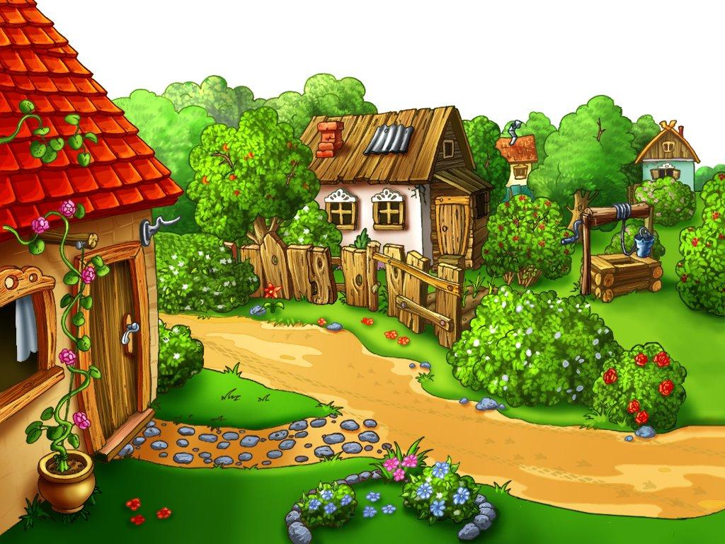 картинки домик в деревне для детей