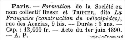 extrait du bulletin des archives commerciales: formation société Besse et Tripier