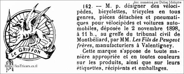Griffon, marque déposée en 1898