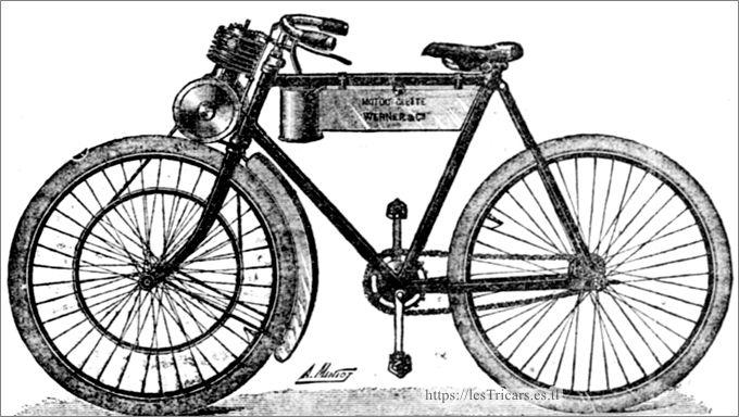 motocyclette Werner, 1898, dessin