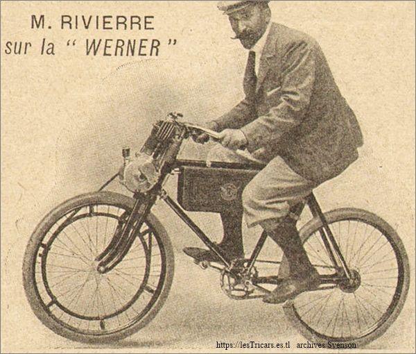 Gaston Rivierre sur la moto Werner 1900