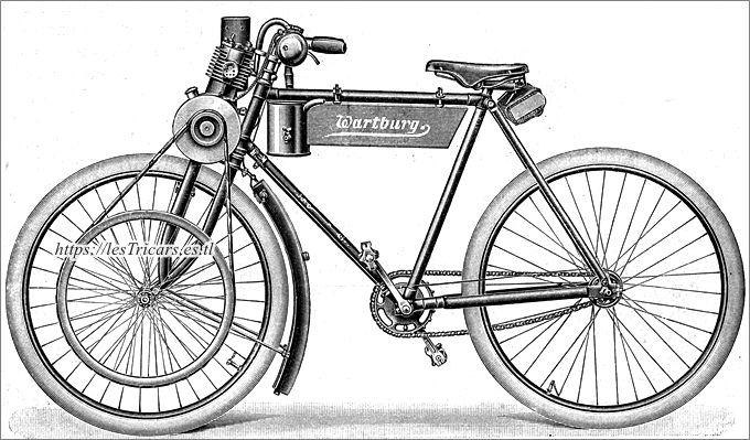 """dessin d'une moto Werner fabriquée à Eisenach sous la dénomination """"Wartburg"""""""