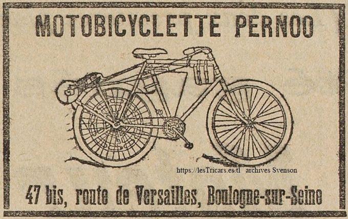 motobicyclette Pernoo 1901, dessin publicitaire