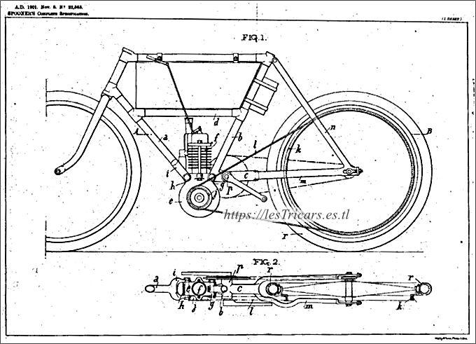 cadre pour motocyclette Werner, breveté 1901. Dessin