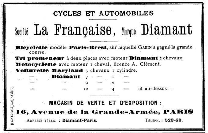 publicité 1902, La Française Diamant