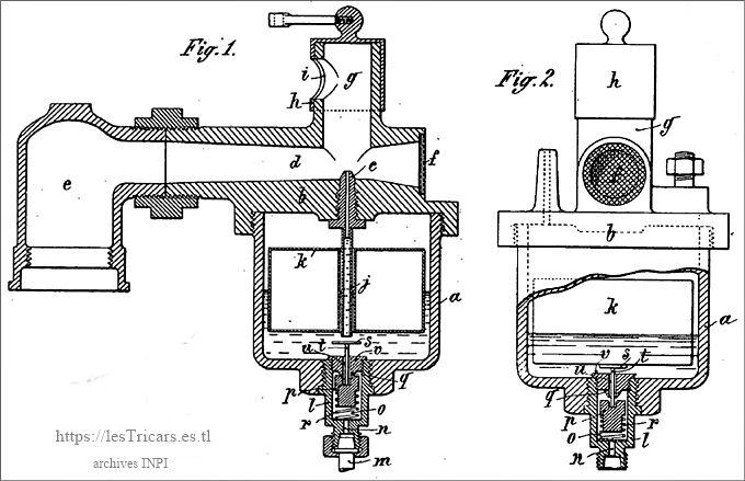 le carburateur Werner, dessin issu du brevet 1902