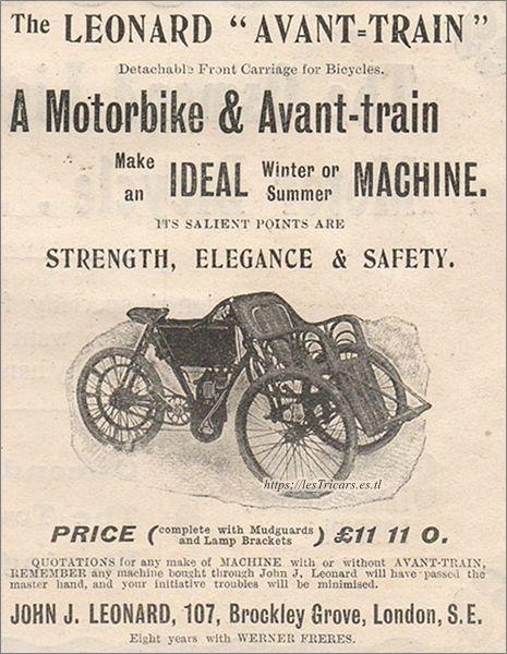 publicité 1902 pour l'avant-train John J. Leonard, Brockley Grove, London