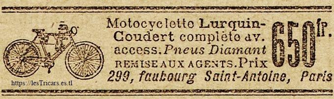 publicité pour la première motocyclette Lurquin-Coudert, 1902