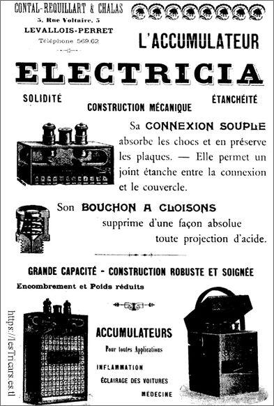 Electricia, construction mécanique, accumulateurs, publicité 1903-1904