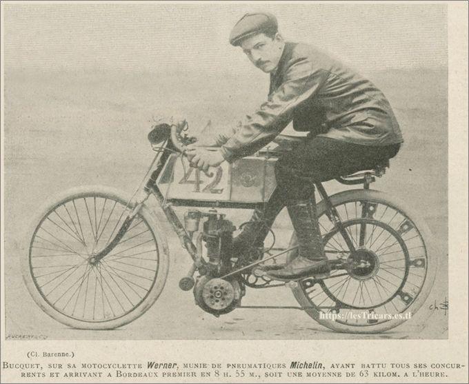 Auguste Bucquet, vainqueur de Paris-Madrid 1903 sur moto Werner