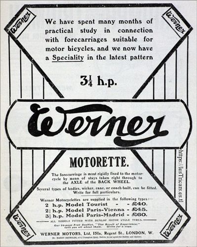 réclame pour la Motorette Werner 1903, Angelterre