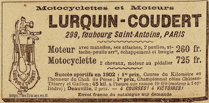 publicité Lurquin & Coudert, 1902