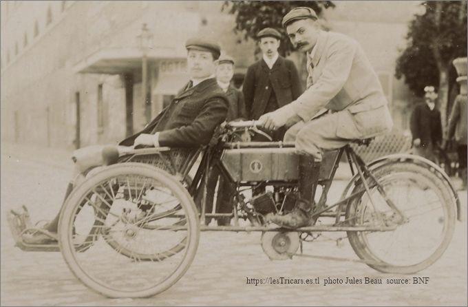 Lurquin-Coudert, tricar 1905 à Saint Germain. Pilote Coudert