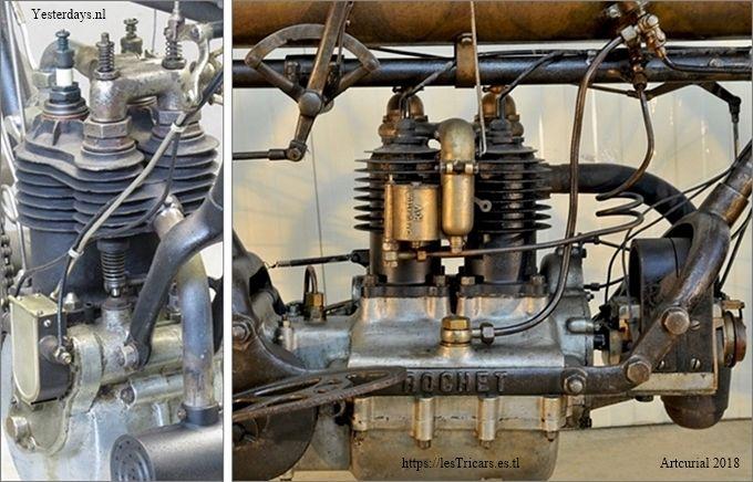 deux moteurs bicylindre: Werner 1905 et Rochet 1907