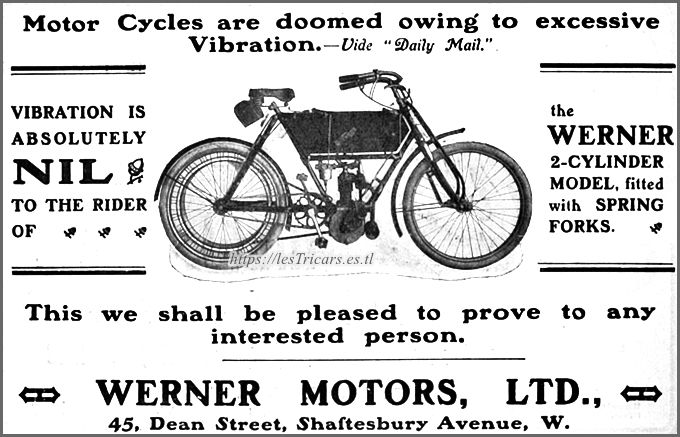 publicité anglaise pour motos Werner avec fourche élastique, 1905