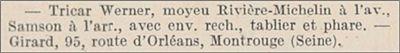 tricar Werner avec moyeu Rivierre, annonce 1906