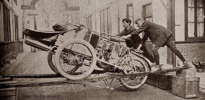 Paris-Pékin 1907: Tricar Contal équipé pour le raid, essaies