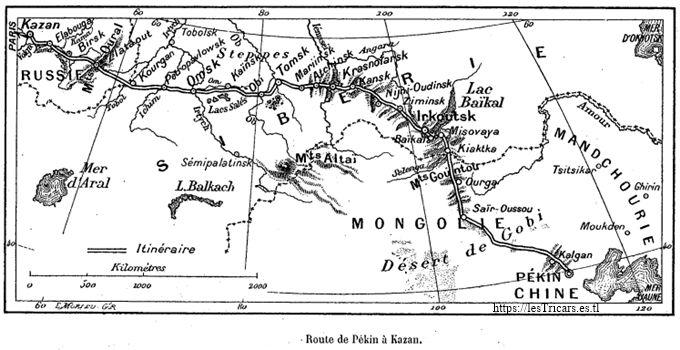 carte de la route Paris-Pékin 1907