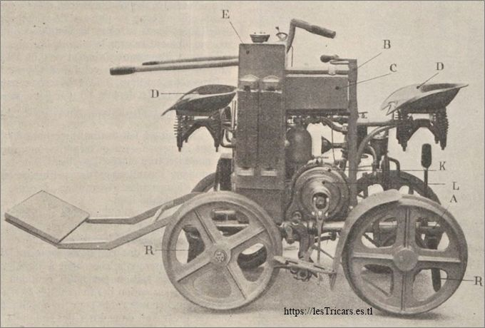 Quadricycle Contal sur rails, destiné aux mines de Mexico, 1908