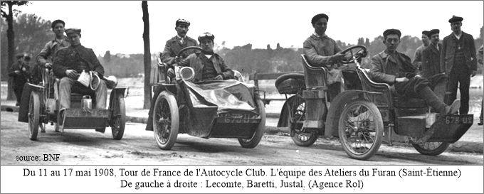 L'équipe des Ateliers du Furan sur les trivoiturettes, Tour de France 1908