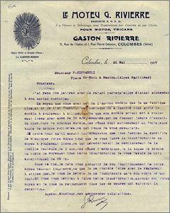 Lettre de Gaston Rivierre, 1909