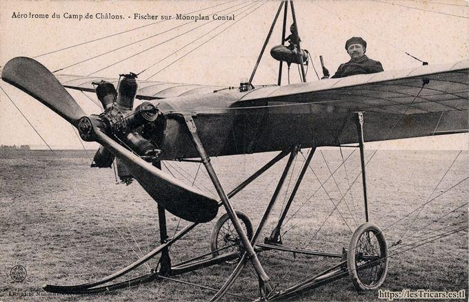 L'aviateur Jules Fischer sur monoplan Contal en 1910