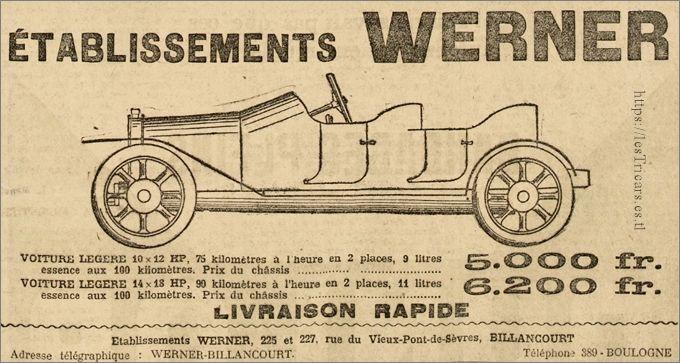 dessin publicitaire de la voiturette Werner 1911
