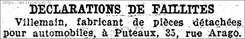 Villemain, déclaration de faillite 1922