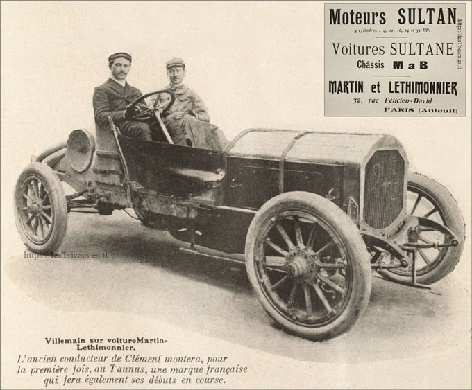 Alfred Villemain sur une voiture Martin et Lethimonnier lors de la coupe de l'Empéreur, 1907