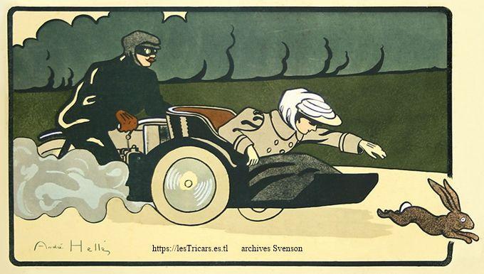 dessin d'André Hellé: La passagère d'un tricar chasse un lapin