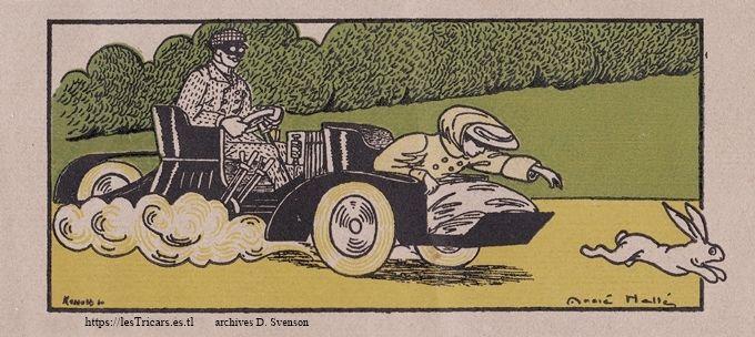 André Hellé, dessin d'un tricar Austral sur un catalogue de 1907.