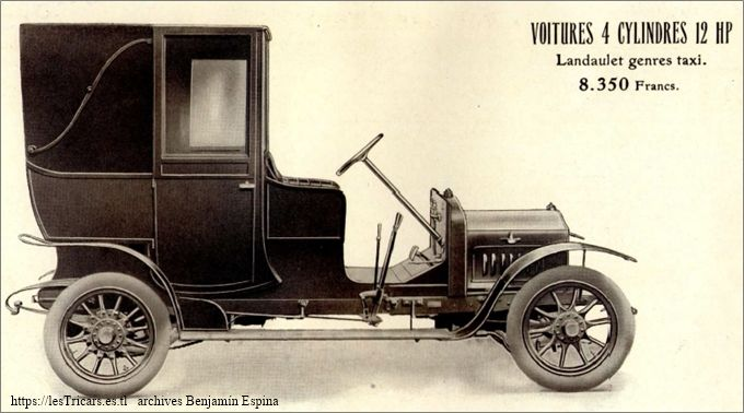 Ivry, voiture 4 cylindres 12 HP, Landaulet Taxi